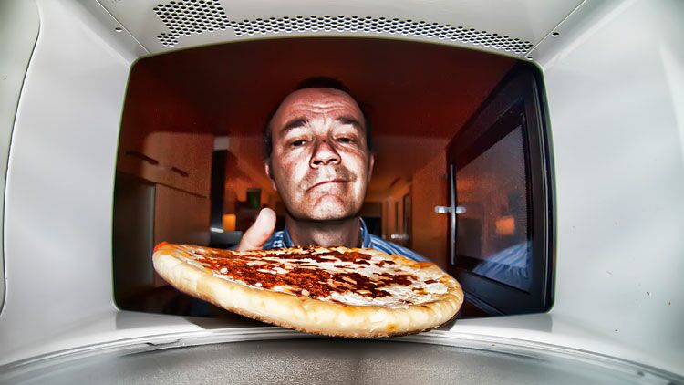 pizza, micro-ondes, cuisson, aliment