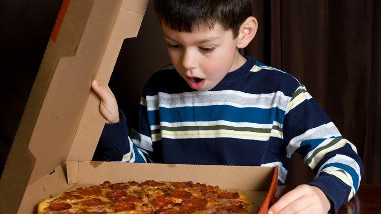 pizza, enfant, boIte à pizza