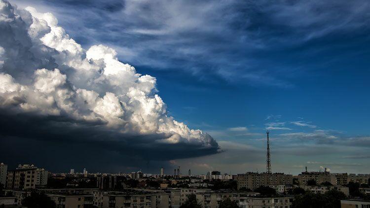 pleuvoir, pluie, nuage, ville, menaçant
