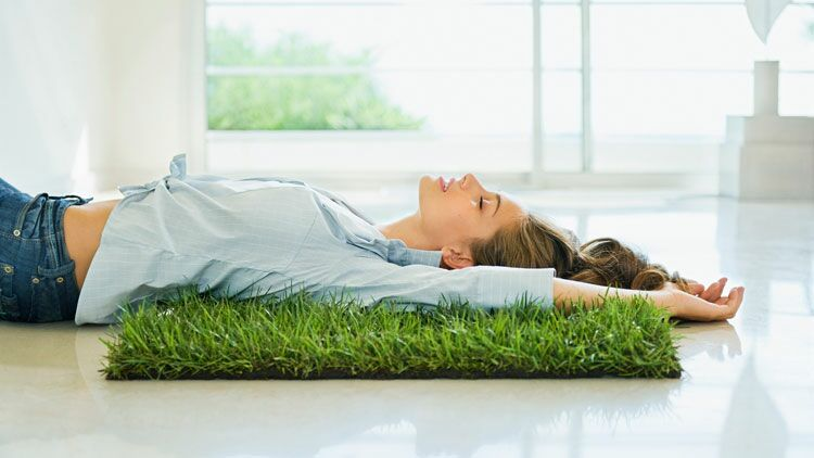 se ressourcer, s'aérer, gym, herbe, végétation, femme