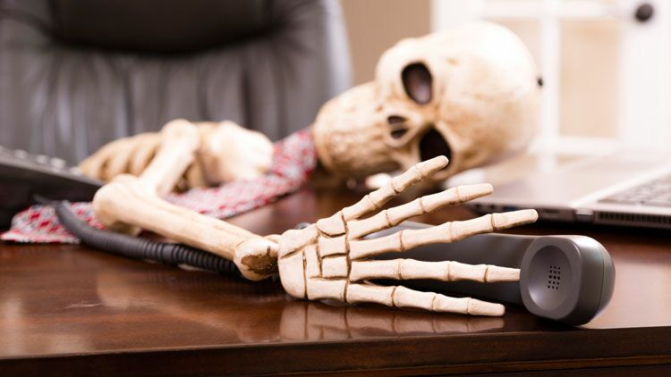 squelette, bureau, attente, mort