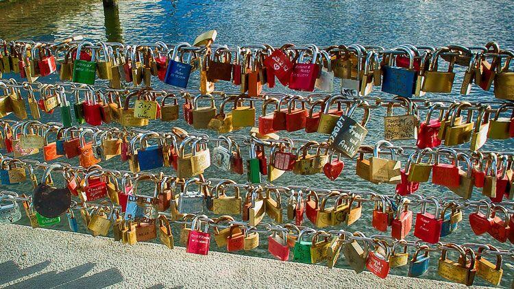cadenas, pont, amour, fidélité