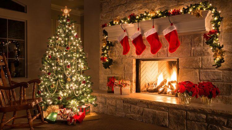 sapin, Noël, cheminée, guirlande