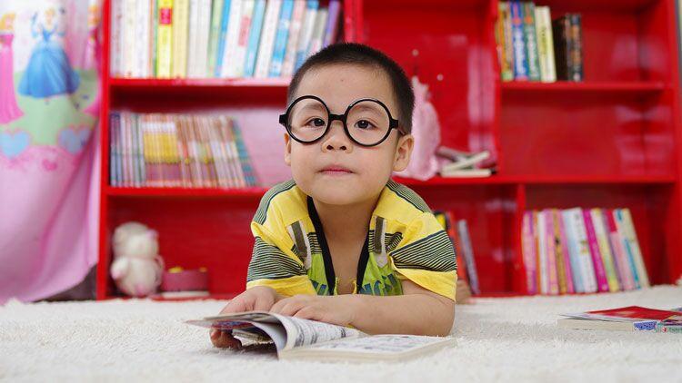 enfant, lire, lunette