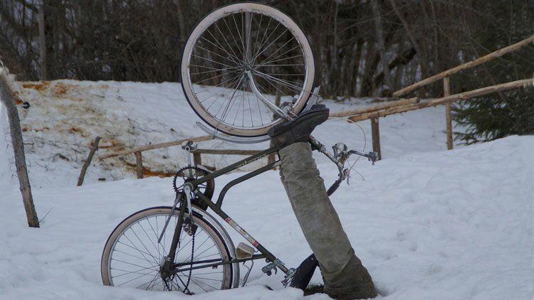 vélo, ivre, bourré, neige, tomber