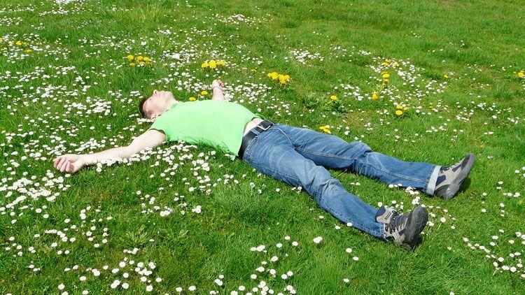 sophrologie, détente, sieste, herbe
