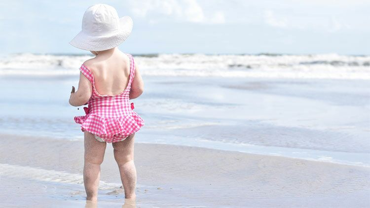 bronzage, enfant, mer