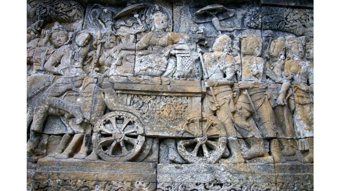 Bas relief du temple de Borobudur