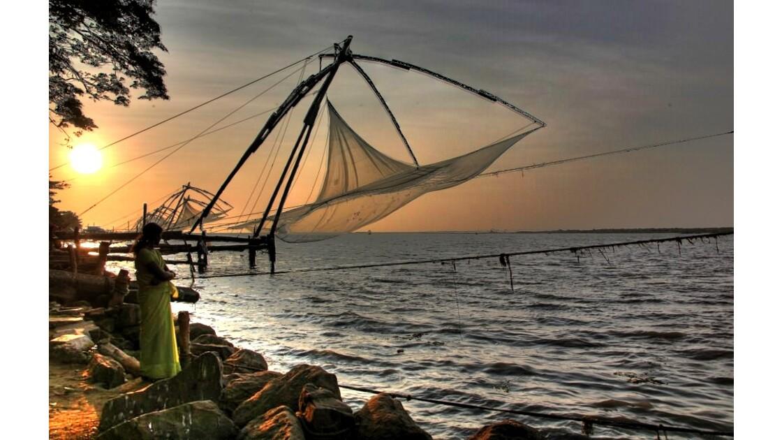 Coucher de soleil à Cochin Inde