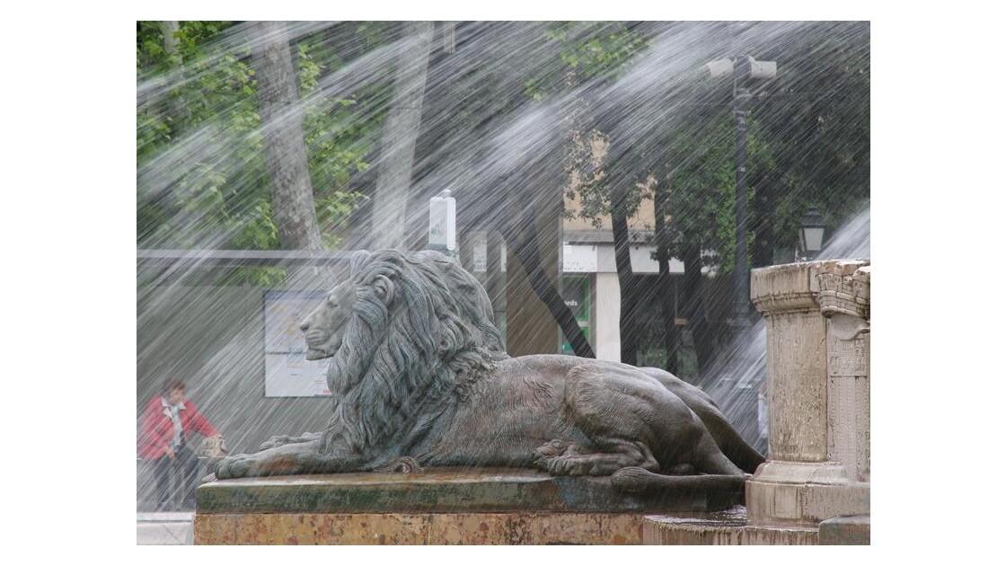 Lion du bassin de la Rotonde