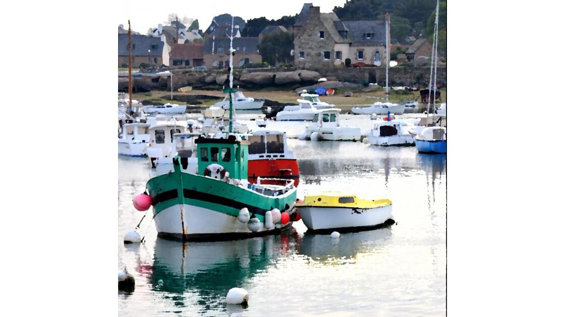 bateaux sur le port de ploumanac´h