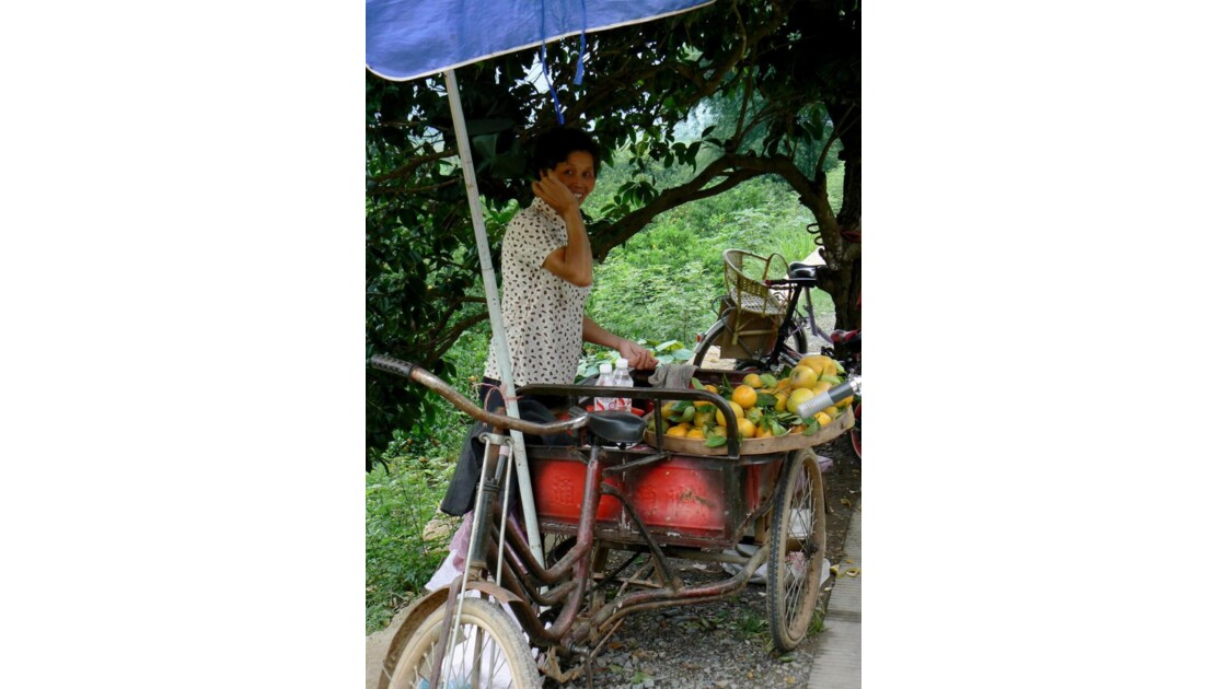 Vendeuse d'oranges - Yangshuo - Chine