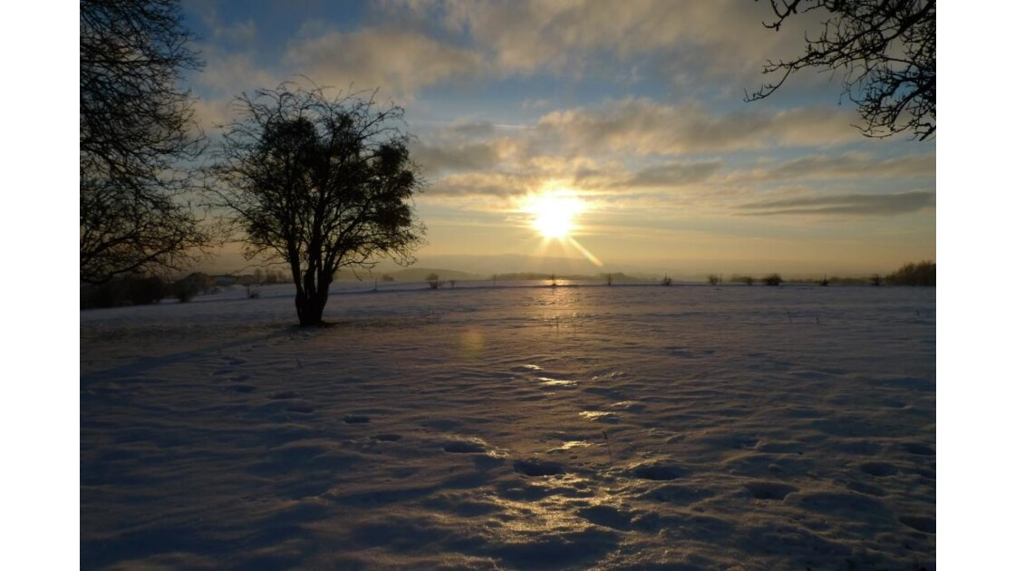 coucher de soleil & neige