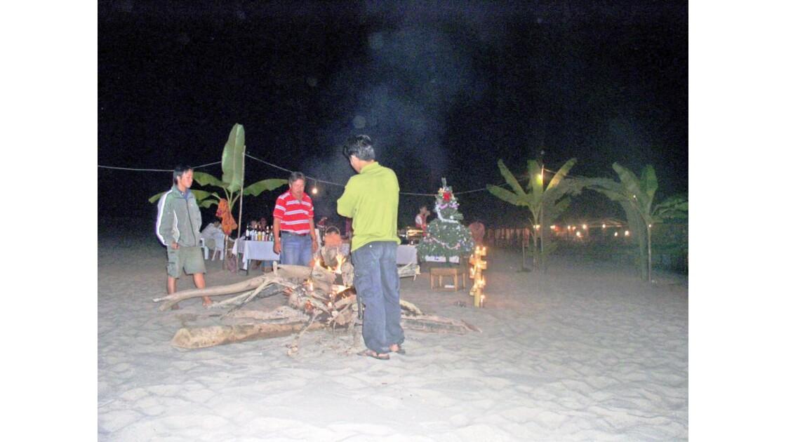 Nous fêtons NOEL sur un banc de sable.
