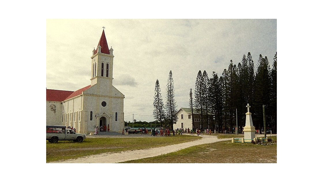 sortie de messe colorée sur l'ile Ouvéa