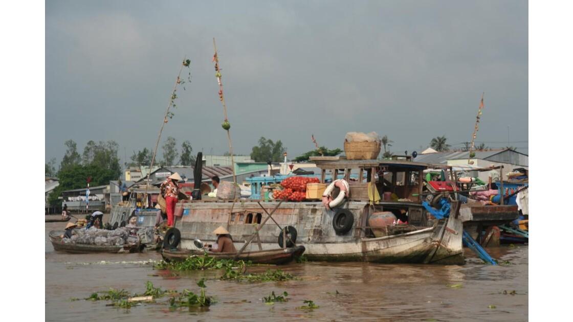 marchés flottant sur le Mékong