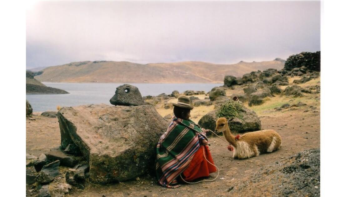 peruvienne et son guanaco