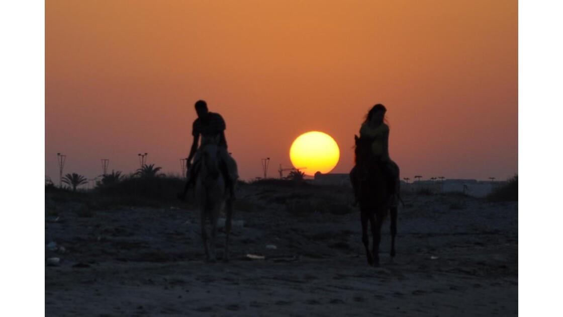 ballade au coucher du soleil