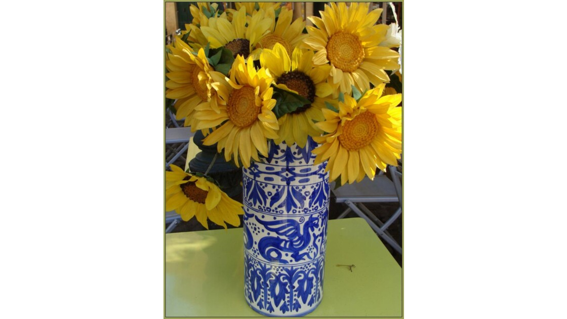 Tournesols au vase bleu