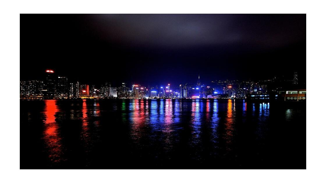 baie de Hong Kong by night