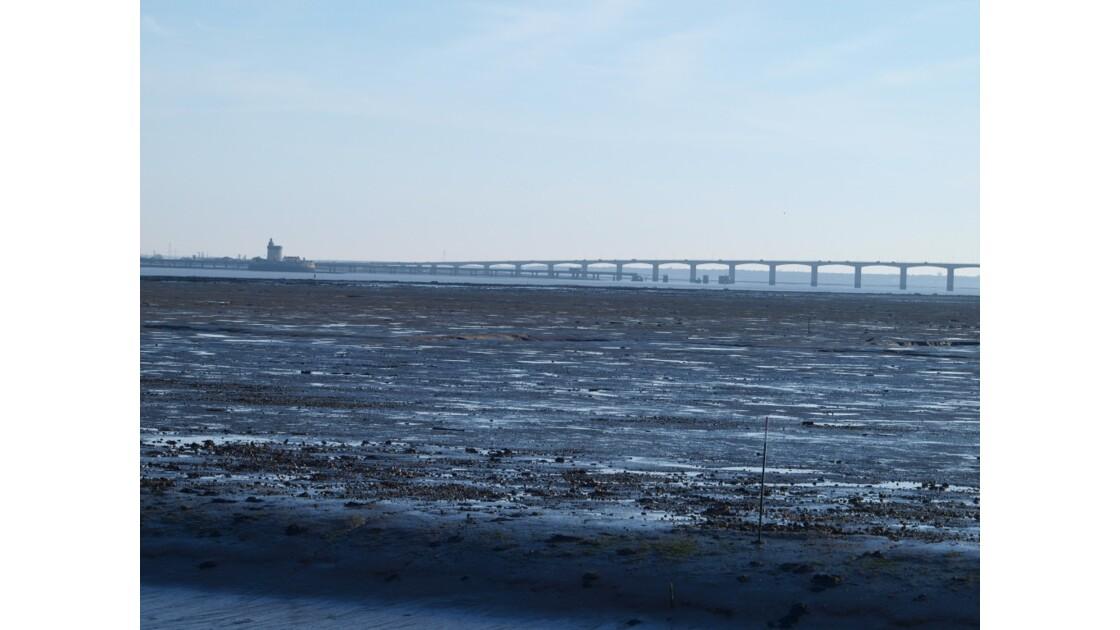 vue sur le pont d'Oléron à marée basse