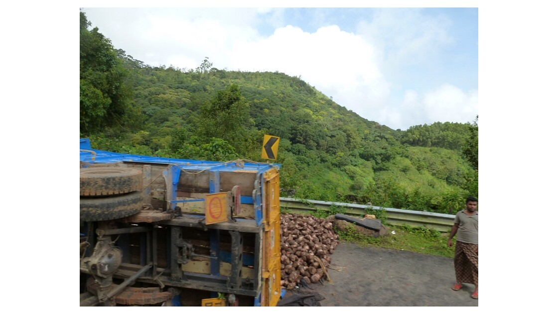 Virage trop serré; hop le manioc en pur