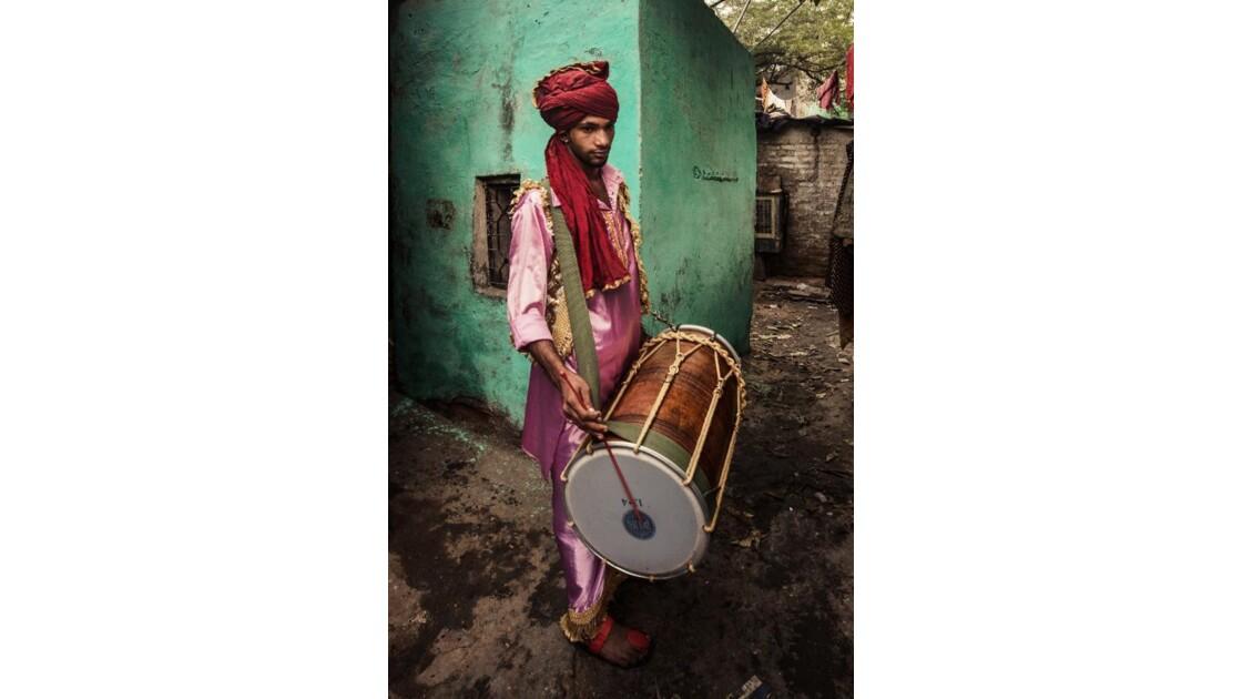 Joueur de dhol de Jhuggi Jhopri