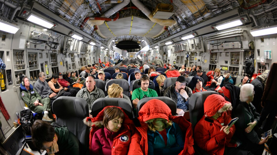A bord du C17 de l'US Air Force.