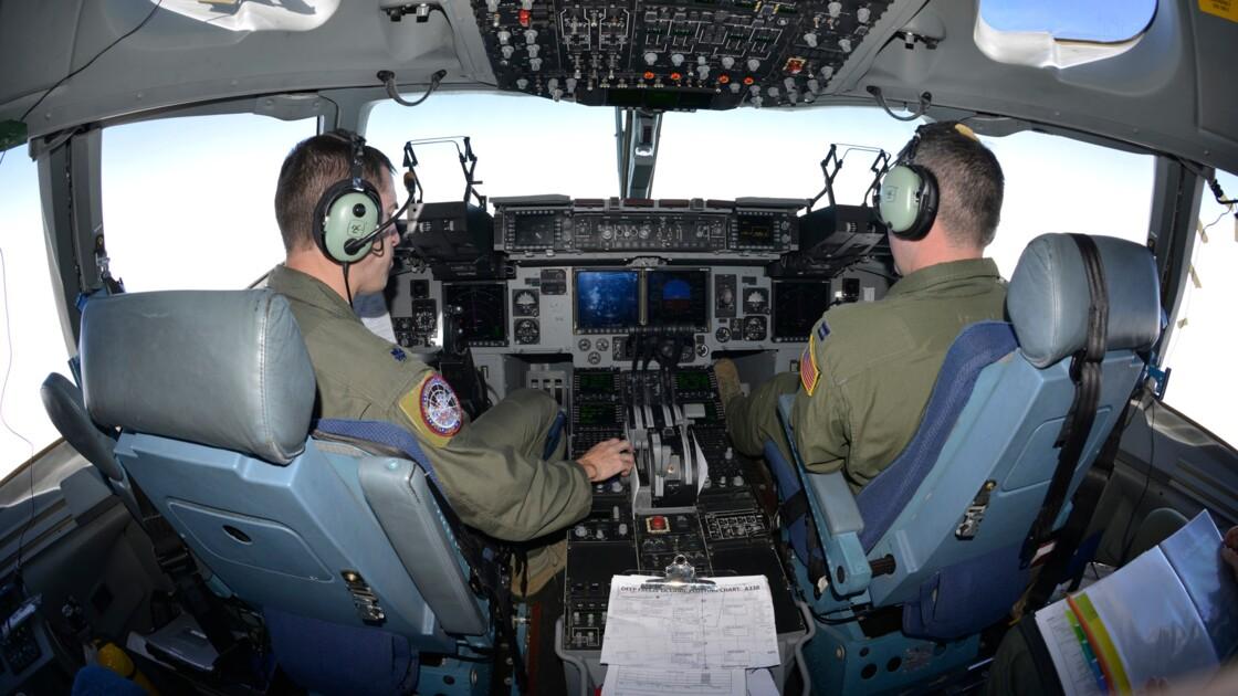 Dans le cockpit du C17 de l'US AIr Force en vol vers l'Antarctique.