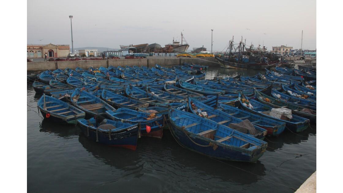 La nuit tombe sur le port d'Essaouira, tous les pêcheurs sont rentrés au port .Les barques , peintes en bleu Essaouira ,