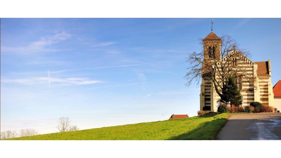 église avec paysage