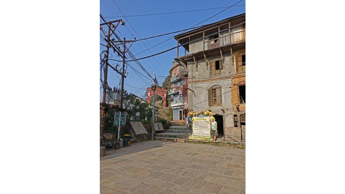 Népal Bandipur restauration d'un vieux bâtiment newari