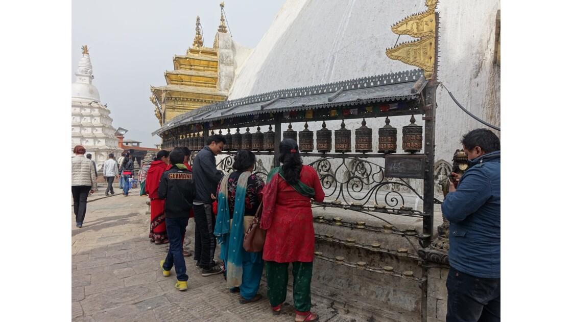 Népal Stupa de Swayambunath Moulin à prière