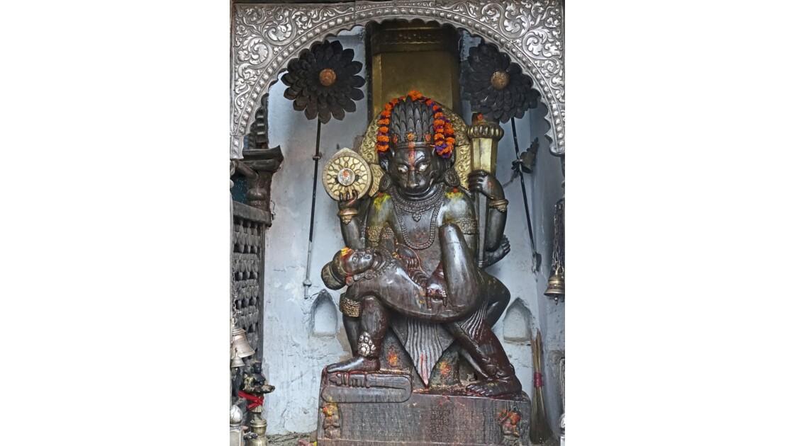 Népal Katmandou Durbar Square Najal Chowk Narasimha Statue 1