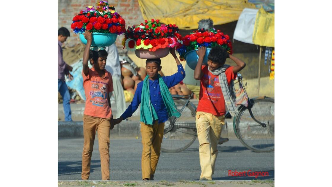 Garçons allant vendre leurs fleurs au marché