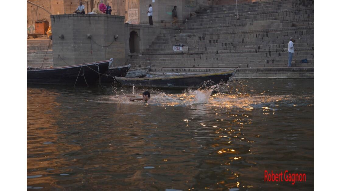 Nageur matinal dans le Gange