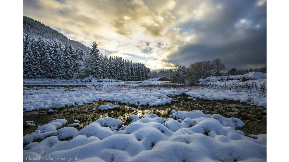 Coucher de soleil et premières neiges