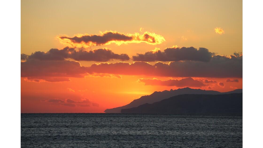 coucher de soleil côte sud de la Crête