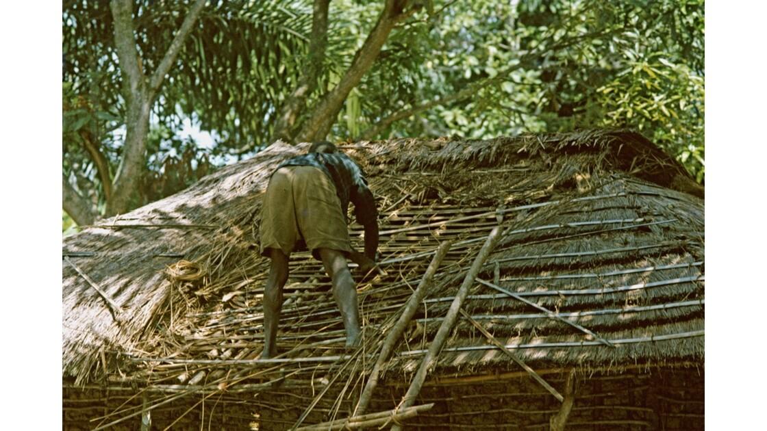 Congo 70  Plateaux Téké Réparation dun toit 1