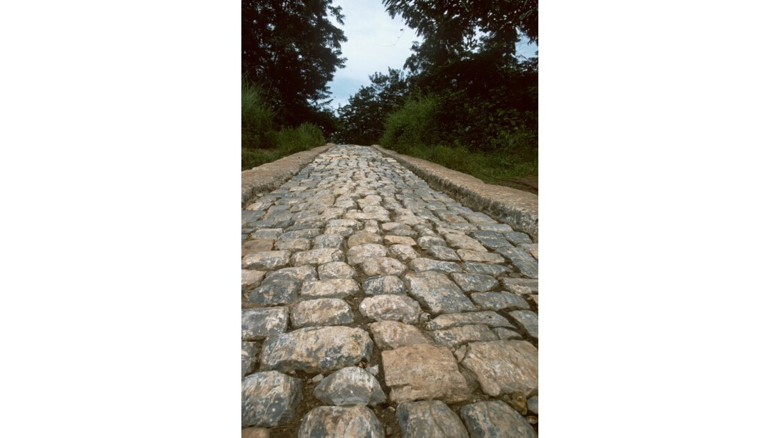 Congo 70 Route pavée du bac sur le Niari