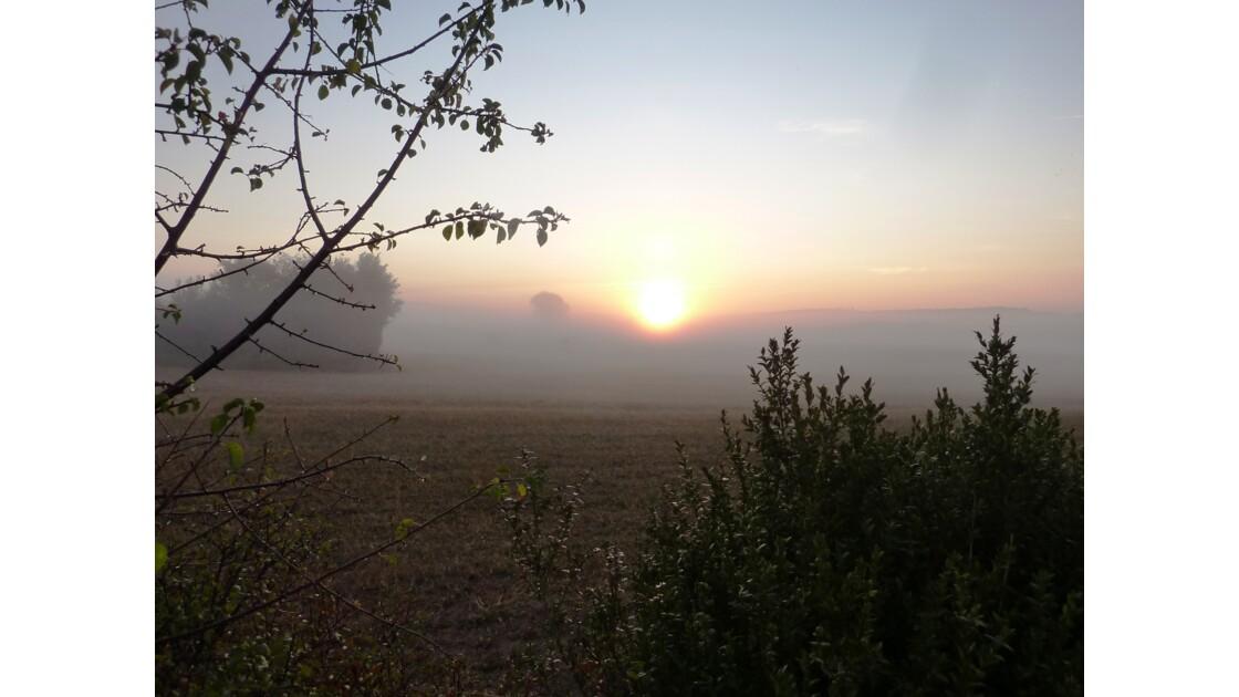 Brumes d'aurore automnale sur le plateau du Larzac