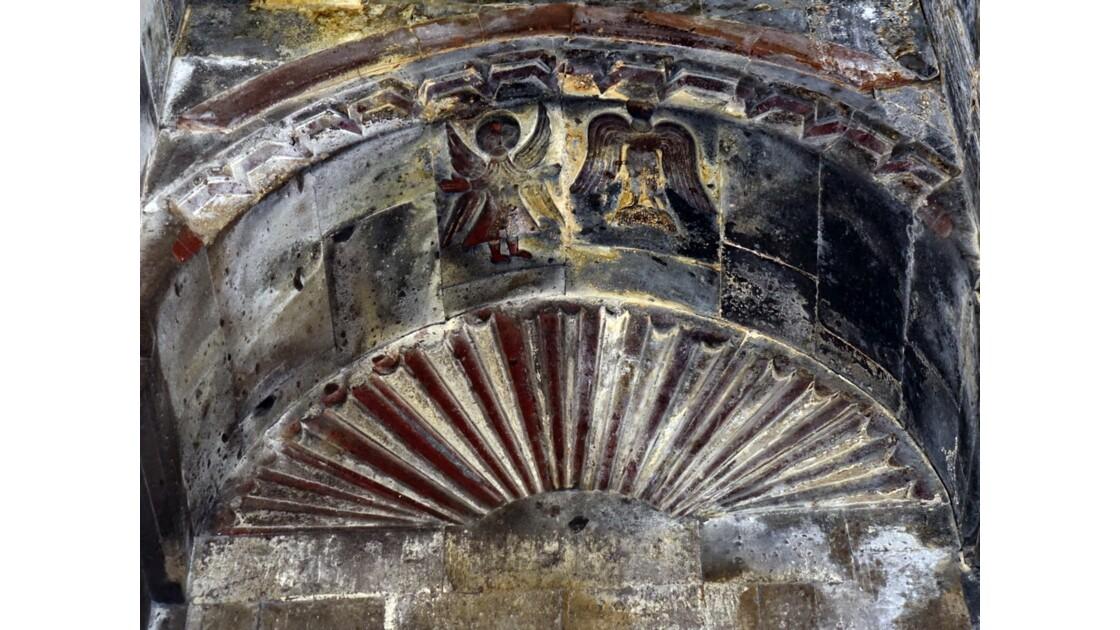Arménie Monastère Saghmosavank Tympan de l'autel de Sourp Sion