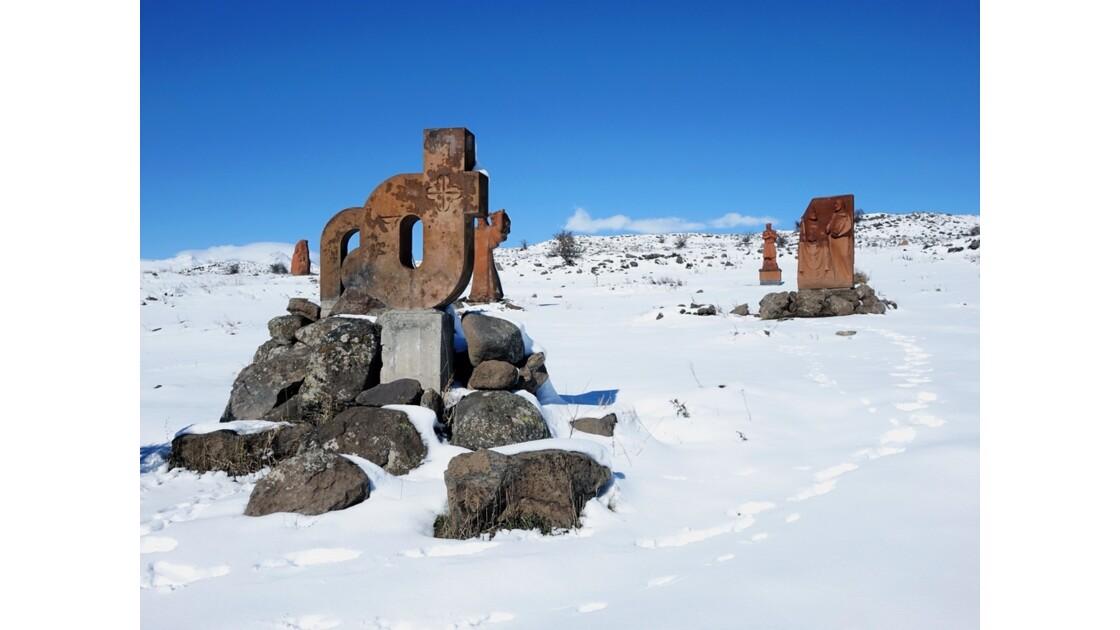 Arménie Tareri Purak - lettres et monument intitulé Alphabet créé en 405