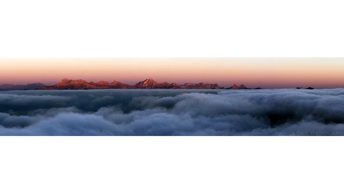 Coucher de soleil et mer du nuages sur le Trièves