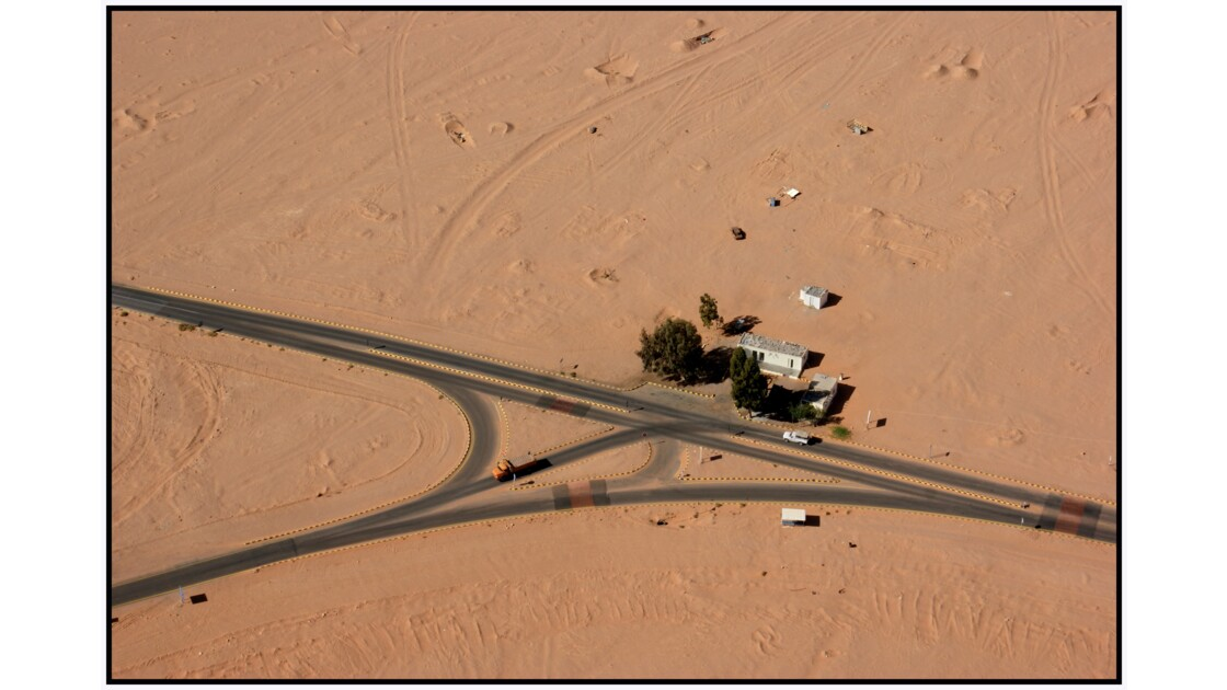 Wadi Rum en U.L.M. - Check point de la zone réservée