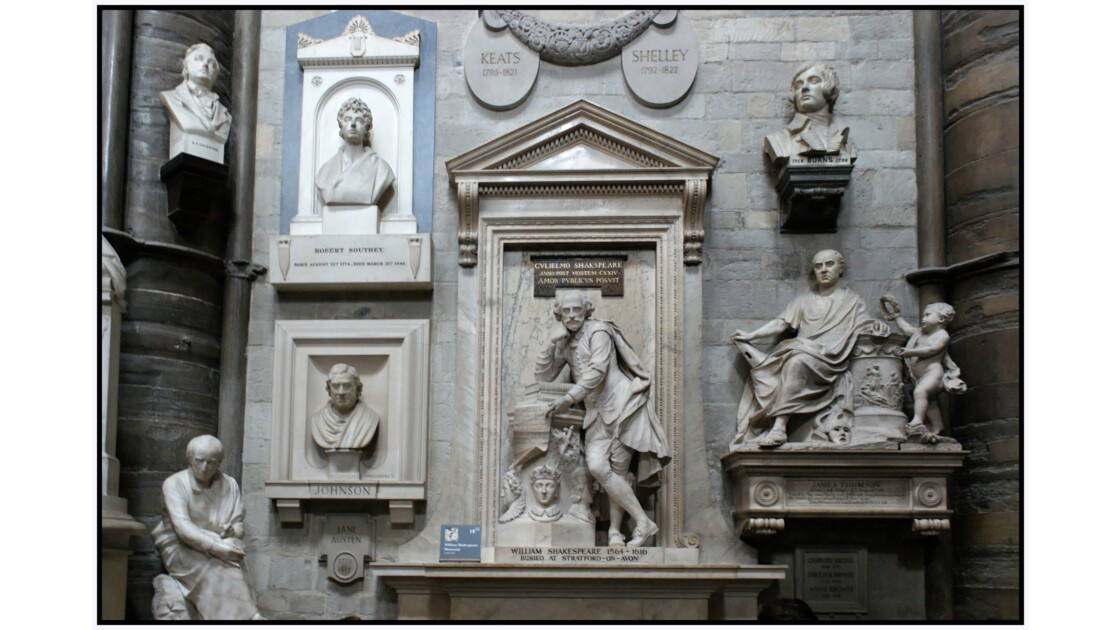 Londres - Westminster Abbey, Coin des poètes