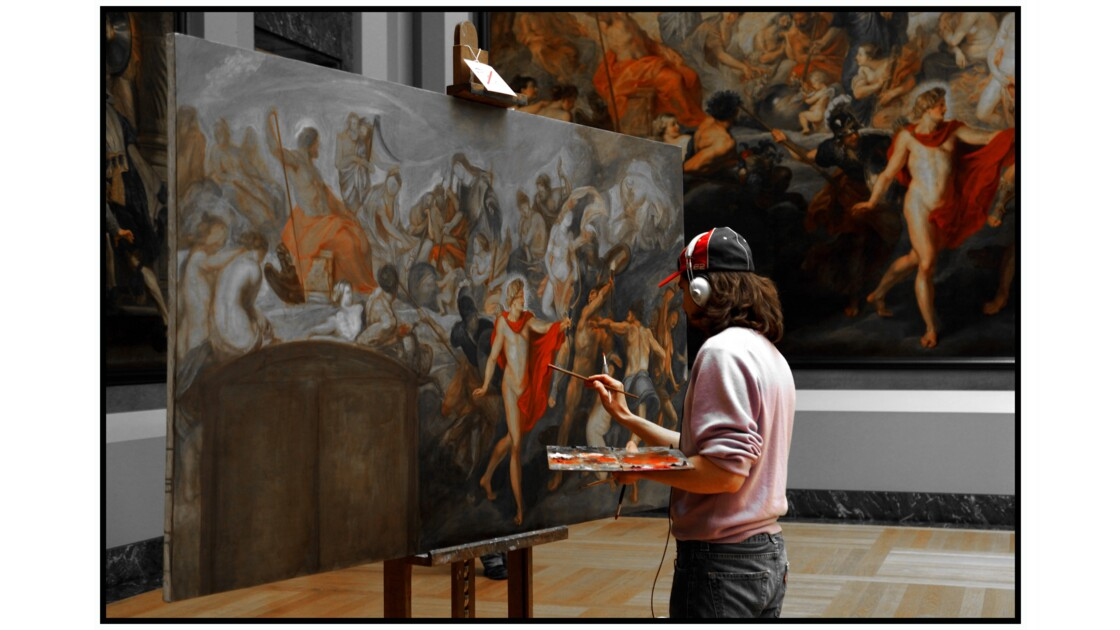 Paris - Le Louvre, Artiste au travail