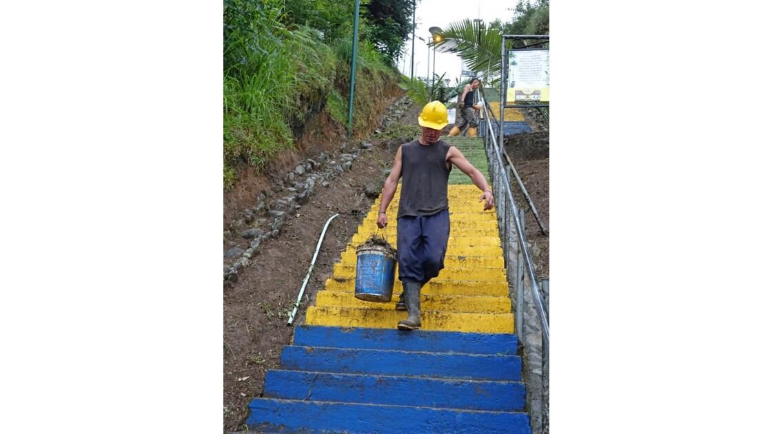 Colombie Salento Mirador d'Alto de la Cruz nettoyage 2
