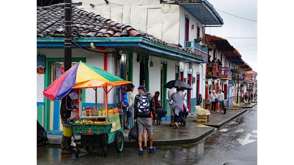 Colombie Salento Calle Real sous la pluie 4