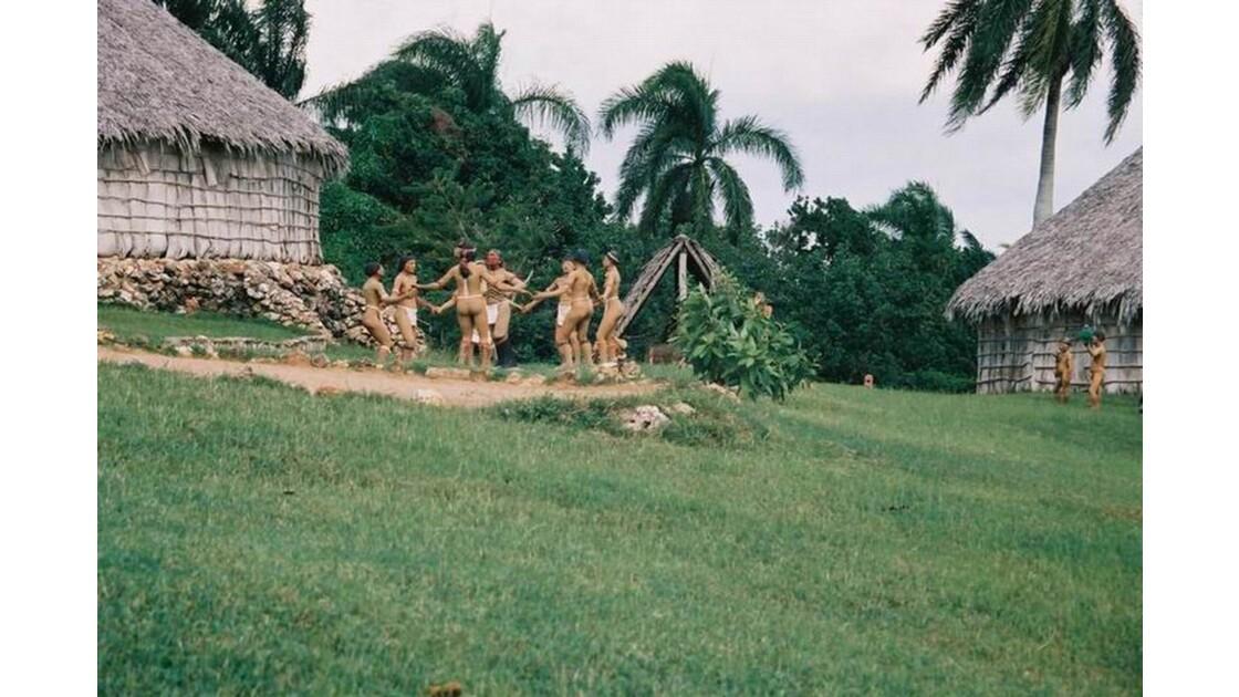 Reconstitution d'un village d'indiens Taïnos